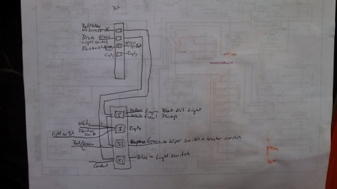 Rough diagram of the fuse panel wiring.