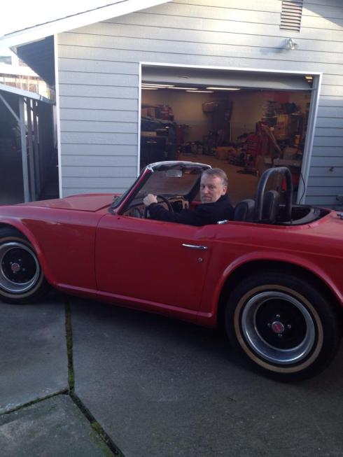 Driving the Triumph in the driveway. Moving under it's own power.