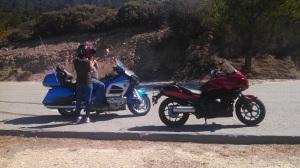 Sis and Thomas' motorcycles.