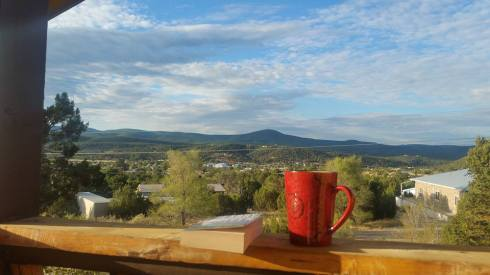 Morning Coffee in the Sandia Mountains.